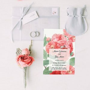 Living Coral vintage Rose wedding invitations