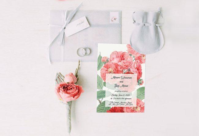 Living Coral vintage Rose wedding invitations