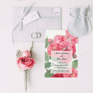 Cottage Chic Pink Rose wedding invitations