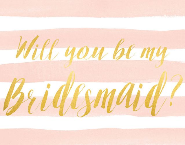 Blush Stripes & Gold Calligraphy Will You Be My Bridesmaid Cards