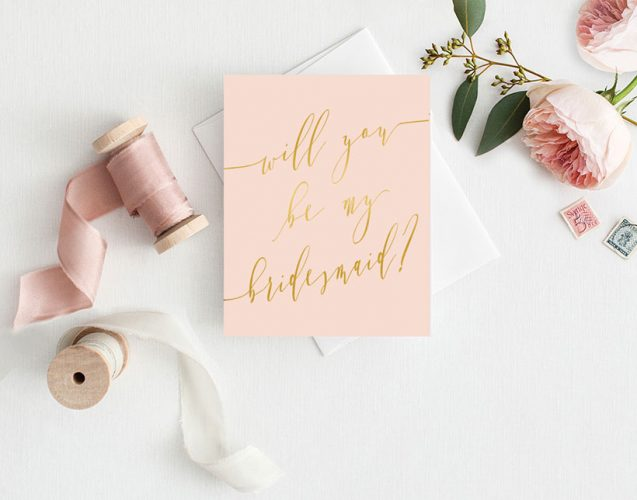 Romantic Blush & Gold Will You Be My Bridesmaid Cards