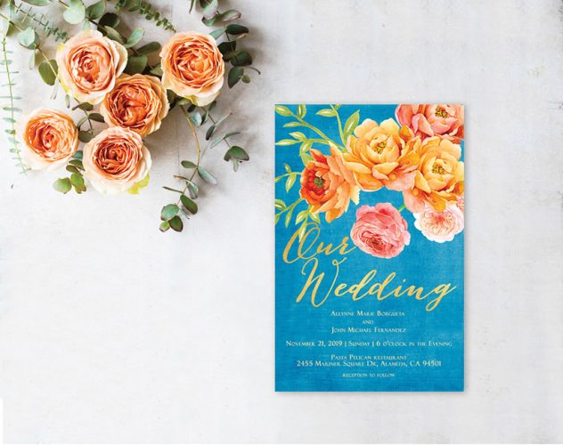 Peacock Blue & Orange Watercolor Roses wedding invitations