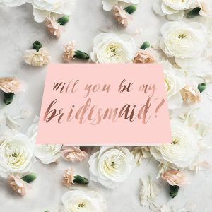 Blush & Rose Gold Calligraphy Will You Be My Bridesmaid Cards