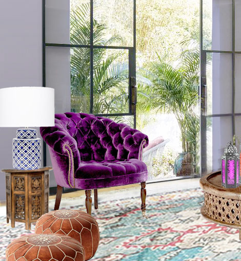 ELLE DECOR Kathryn Ireland's BOHEMIAN LIVING ROOM Redesign by Roche