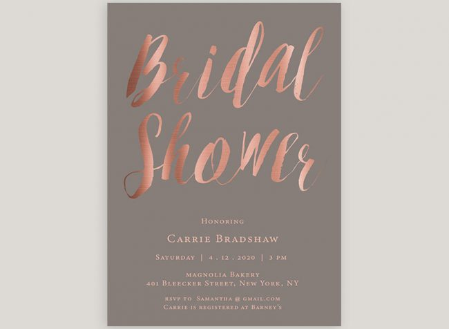 Taupe & Rose Gold Calligraphy Bridal Shower Invitations