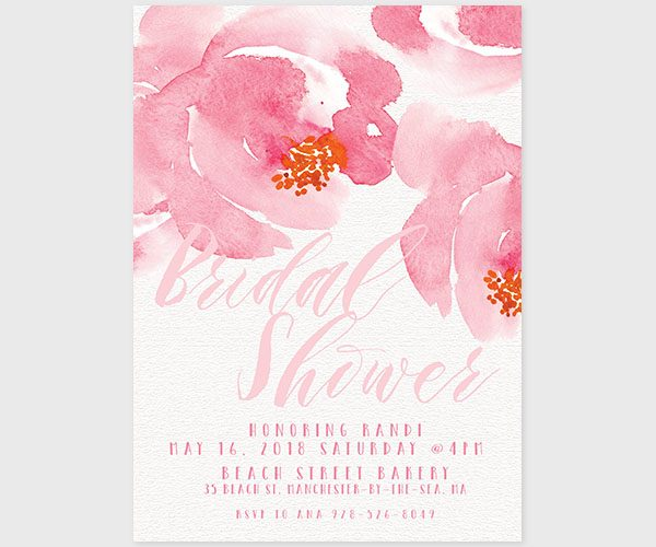 Watercolor Blush Peonies Bridal Shower Invitations
