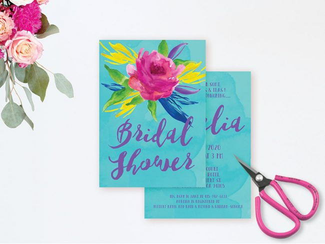 Vibrant Watercolor Turquoise Bridal Shower Invitations