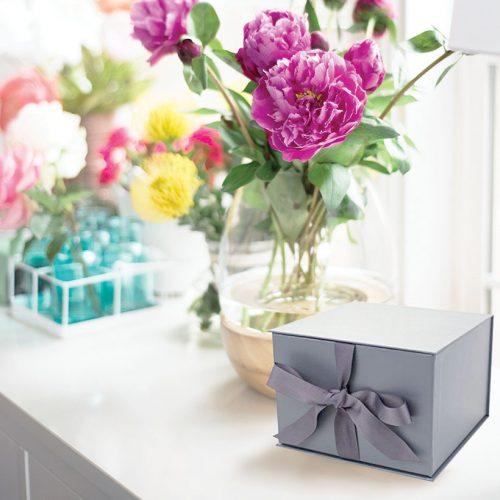 Small Slate Grey Gift Box with Ribbon
