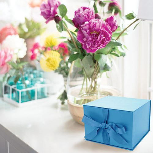 Small Blue Gift Box with Ribbon