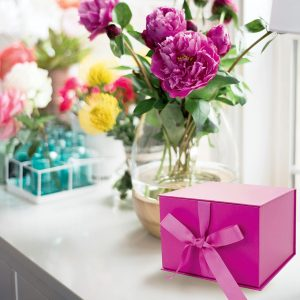 Small Fuchsia Gift Box with Ribbon