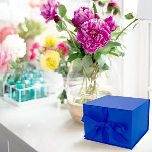 Small Navy Blue Gift Box with Ribbon