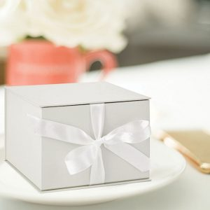 Small Pearl White Gift Box with Ribbon
