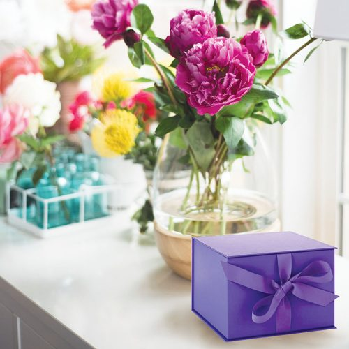 Small Violet Gift Box with Ribbon