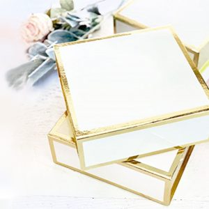 Big White Square Gift Box with Gold Metallic Edge - Set of 3