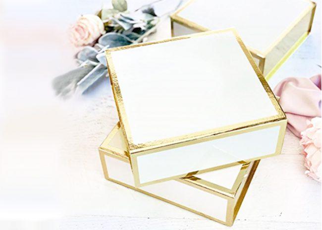 Big White Square Gift Box with Gold Metallic Edge - Set of 3