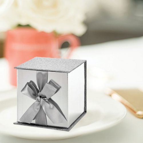 Silver Gift Box w/ Ribbon & Silver Glitter