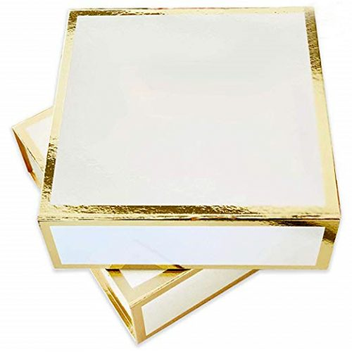 white boxes with gold outline