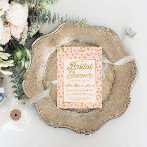 Blush & Gold Confetti Bridal Shower Invitations