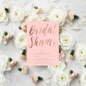 Blush & Rose Gold Calligraphy Bridal Shower Invitations