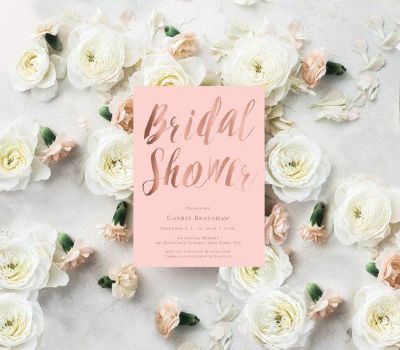 Blush & Rose Gold Calligraphy Bridal Shower Invitations