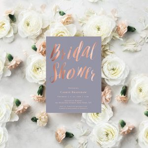 Lavender & Rose Gold Calligraphy Bridal Shower Invitations