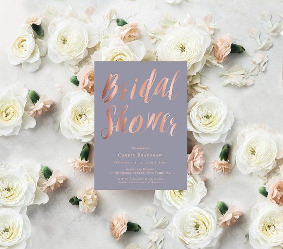 Lavender & Rose Gold Calligraphy Bridal Shower Invitations