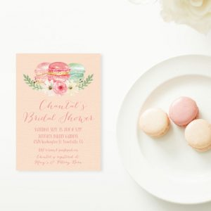 Watercolor macarons Bridal Shower Invitations