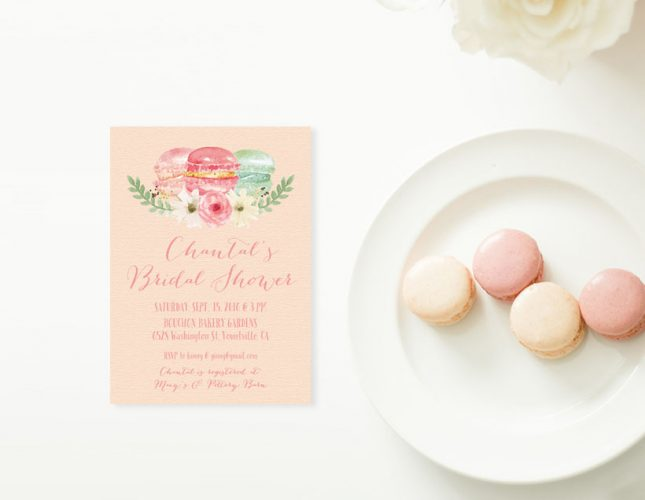 Watercolor macarons Bridal Shower Invitations