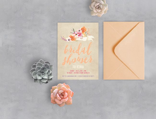 Rustic chic autumn watercolor Bridal Shower Invitations