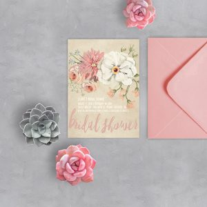 Rustic chic watercolor Bridal Shower Invitations