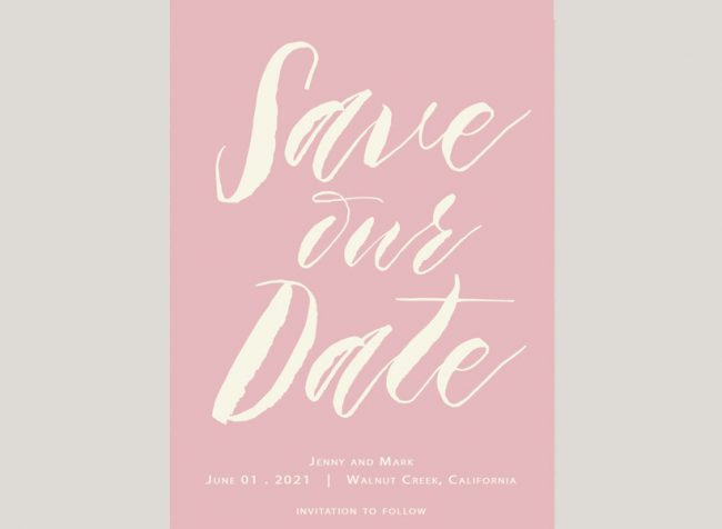 SAve The Date Blush modern calligraphy