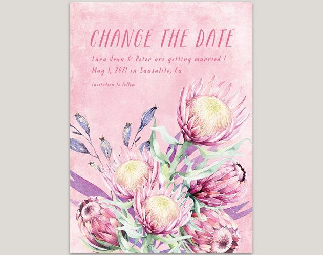 watercolor pink protea change the date cards