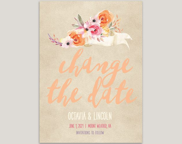 watercolor peach flowers change the date cards