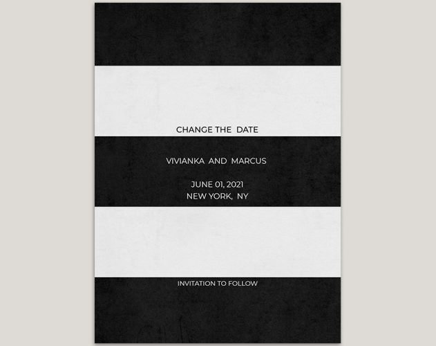 Modern black and white stripes change the date cards