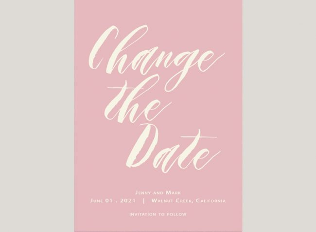 modern calligraphy blush save the date cards
