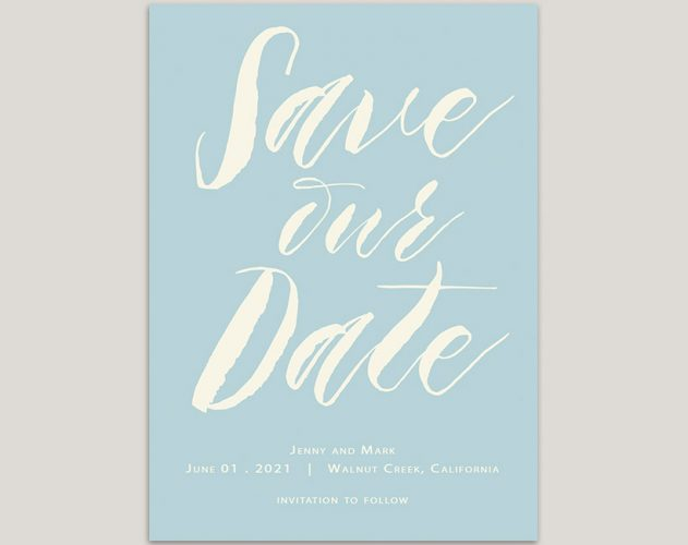 modern calligraphy turquoise save the date cards
