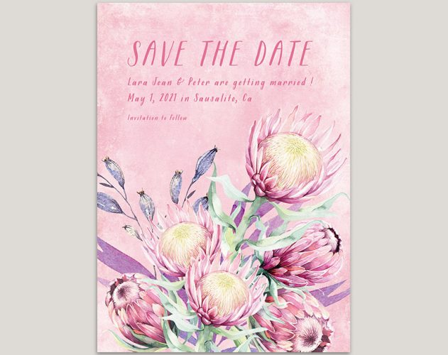 watercolor pink protea save the date cards