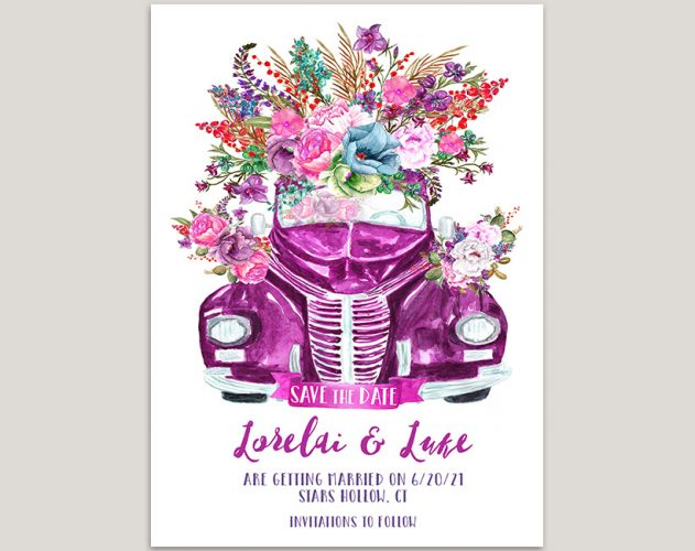 purple watercolor car garden save the date cards