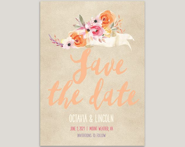 watercolor peach florals save the date cards