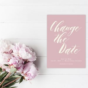 Change The Date Blush modern calligraphy