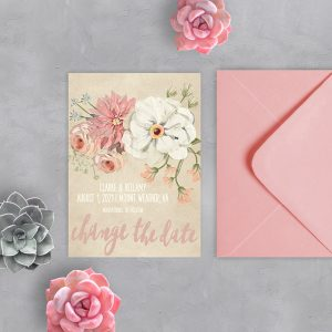 Rustic chic watercolor blush florals change the date cards