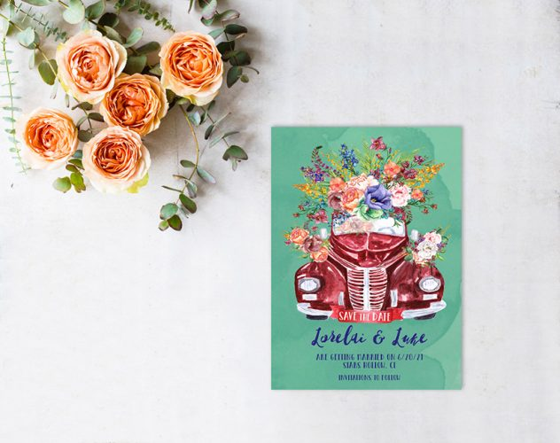 watercolor floral car save the date cards