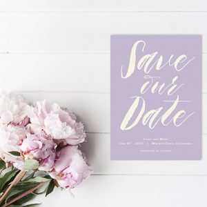 modern calligraphy lavender save the date cards