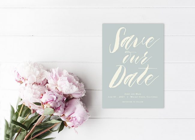 modern calligraphy mint green save the date cards