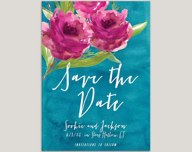 Fuchsia flowers on teal green watercolor save the date cards