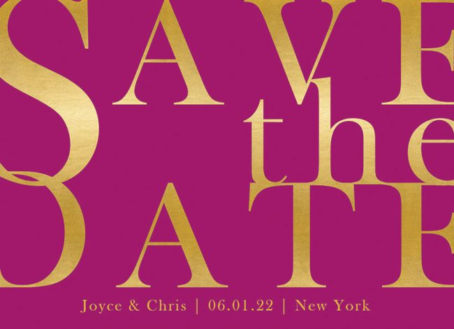 modern gold & purple save the date cards